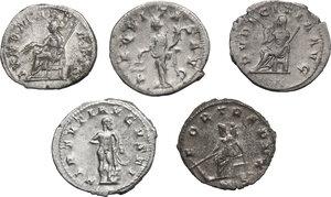 reverse: Roman Empire. From Gordian to Gallienus. Multiple lot of five (5) Antoniniani. Including Gordian (2), Etruscilla, Trebonianus Gallus and Gallienus