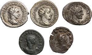 obverse: Roman Empire. From Gordian to Aurelian.. Multiple lot of five (5) Antoniniani. Including Gordian (2), Trebonianus Gallus, Gallienus and Aurelian