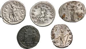 reverse: Roman Empire. From Gordian to Aurelian.. Multiple lot of five (5) Antoniniani. Including Gordian (2), Trebonianus Gallus, Gallienus and Aurelian