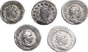 obverse: Roman Empire. From Philip I to Gallienus.. Multiple lot of five (5) Antoniniani. Including Philip I (2), Trajan Decius, Volusian and Gallienus