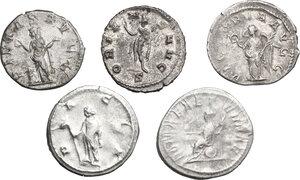 reverse: Roman Empire. From Philip I to Gallienus.. Multiple lot of five (5) Antoniniani. Including Philip I (2), Trajan Decius, Volusian and Gallienus
