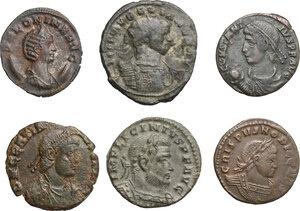 obverse: Roman Empire. From Salonina to Gratian.. Multiple lot of six (6) coins: Antoniniani of  Salonina and Aurelian, AE of  Licinius, Crispus, Constantius II and Gratian