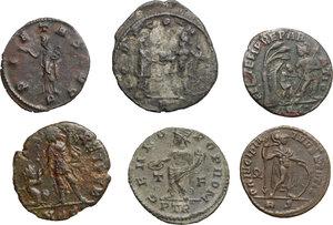 reverse: Roman Empire. From Salonina to Gratian.. Multiple lot of six (6) coins: Antoniniani of  Salonina and Aurelian, AE of  Licinius, Crispus, Constantius II and Gratian