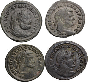 obverse: Roman Empire. The four Tetrarchs.. Multiple lot of four (4) AE Folles of Diocletian, Maximian, Constantius and Galerius