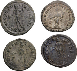 reverse: Roman Empire. The four Tetrarchs.. Multiple lot of four (4) AE Folles of Diocletian, Maximian, Constantius and Galerius