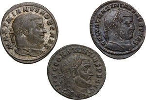 obverse: Roman Empire. Time of  Tetrarchy.. Multiple lot of three (3) AE Folles of Maximian, Constantius and Galerius