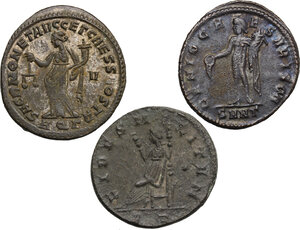 reverse: Roman Empire. Time of  Tetrarchy.. Multiple lot of three (3) AE Folles of Maximian, Constantius and Galerius