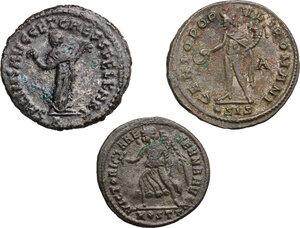 reverse: Roman Empire. . Multiple lot of three (3) AE Folles of Maximian (2) and Maxentius