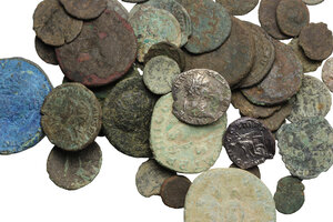 obverse: Roman Empire.. Multiple lot of 45 coins, all AE but for a AR Denarius of Vespasian and a Fourree Denarius of Domitian. Mostly of Roman Empire