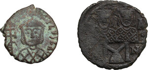 obverse: Byzantine Empire.. Multiple lot of two (2) AE Folles of Leo IV (775-780) Sear 1586 and Teophilus (829-842) Sear 1680, Syracuse mint