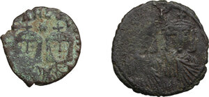reverse: Byzantine Empire.. Multiple lot of two (2) AE Folles of Leo IV (775-780) Sear 1586 and Teophilus (829-842) Sear 1680, Syracuse mint