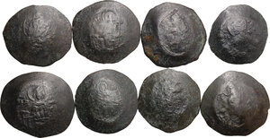 obverse: Byzantine Empire.. Multiple lot of eight (8) unclassified Aspron Trachys