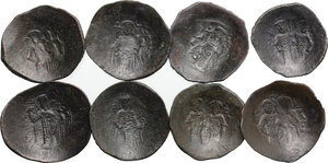 reverse: Byzantine Empire.. Multiple lot of eight (8) unclassified Aspron Trachys