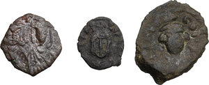 obverse: Byzantine Empire.. Multiple lot of three (3) unclassified AE denominations, mostly of Syracuse mint