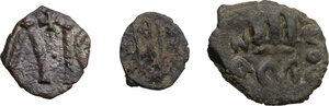 reverse: Byzantine Empire.. Multiple lot of three (3) unclassified AE denominations, mostly of Syracuse mint