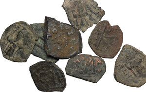 obverse: The Byzantine Empire.. Multiple lot of eight (8) byzantine and arab-byzantine denominations from the Holy Land
