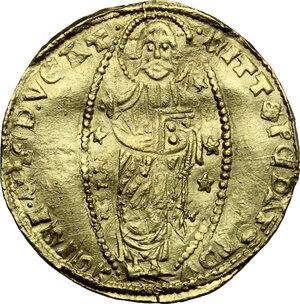 reverse: Foglia Vecchia (Phocaea).  Andreolo Cattaneo Della Volta (1314-1331).. AV Ducato, imitation of a Venetian ducat