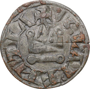reverse: Frankish Greece, Achaea.  William of Villehardouin (1245-1278).. BI Denier, Tournois series. Glarentza mint