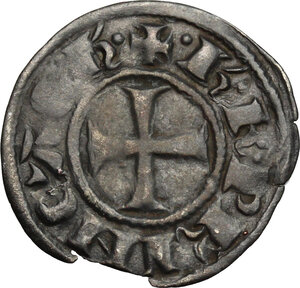 obverse: Frankish Greece, Achaea.  Charles II of Anjou (1285-1289).. BI Denier, Tournois series, Glarentza mint