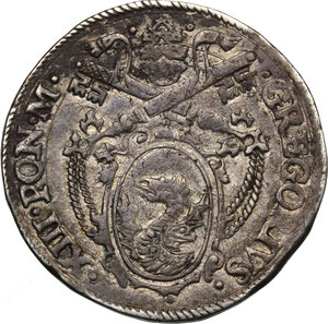 obverse: Ancona.  Gregorio XIII (1572-1585), Ugo Boncompagni. Testone