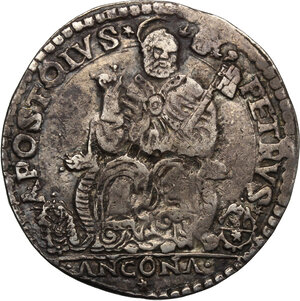 reverse: Ancona.  Gregorio XIII (1572-1585), Ugo Boncompagni. Testone