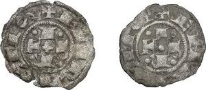 obverse: Bologna.  Repubblica, a nome di Enrico VI Imperatore (1191-1337).. Lotto di due bolognini piccoli