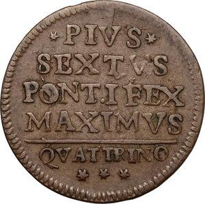 obverse: Bologna.  Pio VI (1775-1799), Giovanni Angelo Braschi. Quattrino 1796
