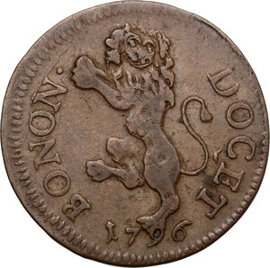 reverse: Bologna.  Pio VI (1775-1799), Giovanni Angelo Braschi. Quattrino 1796