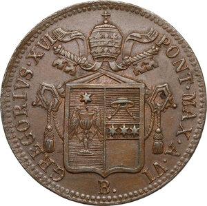 obverse: Bologna.  Gregorio XVI (1831-1846), Bartolomeo Alberto  Cappellari. Baiocco A. VI, 1836