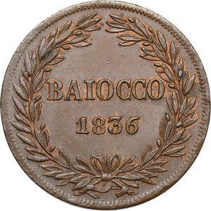 reverse: Bologna.  Gregorio XVI (1831-1846), Bartolomeo Alberto  Cappellari. Baiocco A. VI, 1836
