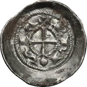 obverse: Brescia.  Comune a nome di Federico I (1186-1250). Denaro scodellato