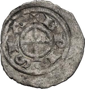 obverse: Brescia.  Comune a nome di Federico I (1186-1250). Denaro piatto