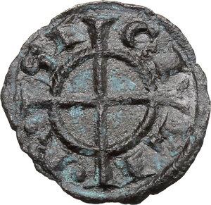reverse: Brindisi o Messina.  Federico II (1197-1250). Quarto di Denaro, 1221
