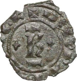 obverse: Brindisi o Messina.  Carlo I d Angiò (1266 -1282).. Denaro con K circondata da due losanghe ai lati e da barre sopra e sotto