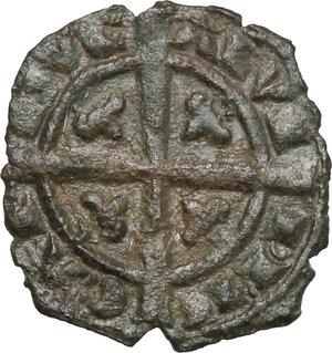 reverse: Brindisi o Messina.  Carlo I d Angiò (1266 -1282).. Denaro con K circondata da due losanghe ai lati e da barre sopra e sotto
