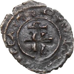 obverse: Brindisi o Messina.  Carlo I d Angiò (1266 -1282).. Denaro con K traversata da sbarra e sormontata da Ω