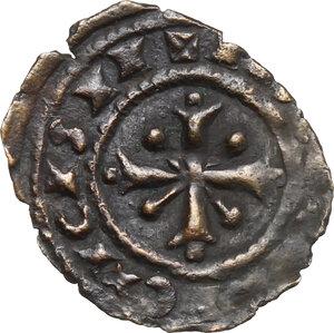 reverse: Brindisi o Messina.  Carlo I d Angiò (1266 -1282).. Denaro con K traversata da sbarra e sormontata da Ω