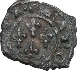 obverse: Brindisi o Messina.  Carlo I d Angiò (1266 -1282).. Denaro con quattro gigli