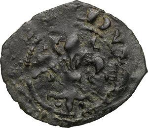 obverse: Messina o Brindisi.  Carlo I d Angiò (1266-1282). Denaro con giglio