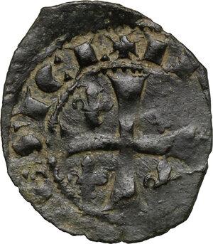 reverse: Messina o Brindisi.  Carlo I d Angiò (1266-1282). Denaro con giglio