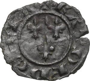 obverse: Brindisi o Messina.  Carlo I d Angiò (1266 -1282).. Denaro con tre gigli