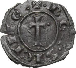 reverse: Brindisi o Messina.  Carlo I d Angiò (1266 -1282).. Denaro con tre gigli