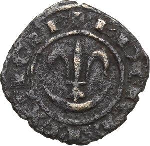 obverse: Brindisi o Messina.  Carlo I d Angiò (1266 -1282).. Denaro con giglio sopra crescente