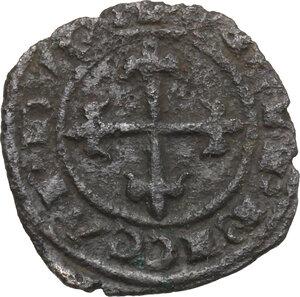 reverse: Brindisi o Messina.  Carlo I d Angiò (1266 -1282).. Denaro con giglio sopra crescente