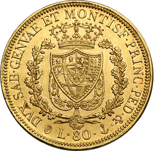 reverse: Carlo Felice (1821-1831). 80 lire 1829 Genova