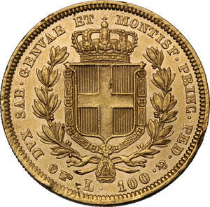 reverse: Carlo Alberto (1831-1849).. 100 Lire 1834 Torino