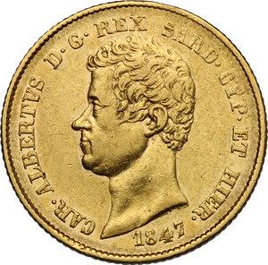 obverse: Carlo Alberto (1831-1849).. 20 Lire 1847 Genova