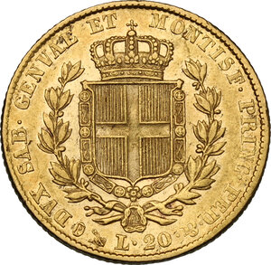 reverse: Carlo Alberto (1831-1849).. 20 Lire 1847 Genova