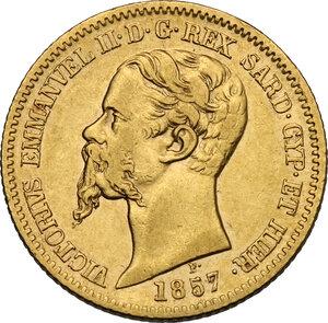 obverse: Vittorio Emanuele II, Re di Sardegna (1849-1861).. 20 Lire 1857 Torino