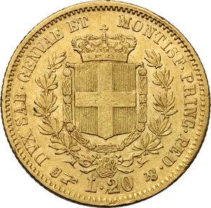 reverse: Vittorio Emanuele II, Re di Sardegna (1849-1861).. 20 Lire 1857 Torino